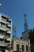Mobile phone transmitters on buildings