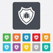Shield sign icon. Virus protection symbol.
