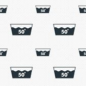 Wash icon. Machine washable at 50 degrees symbol