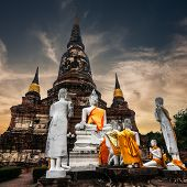 Praying Buddhas at Wat Yai Chai Mongkhon temple. Ayutthaya Thailand