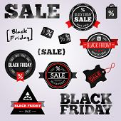 Abstract Black Friday Labels And Tags On A White Background.