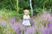 Happy Curly Baby Girl Laughing And Playing In A Heathland With Beautiful Purple Flowers
