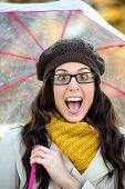Surprised Happy Woman In Autumn With Umbrella