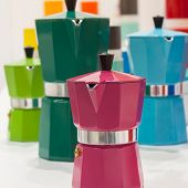 Pantone Moka Pots On Display At Homi, Home International Show In Milan, Italy