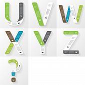 Vector font infographic, diagram, presentation. Letters U, V, W, X, Y, Z, question. Business concept