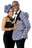 Beautiful Couple Dressed in Traditional African Clothes, in Studio, Over White