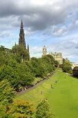 Edinburgh , The Scotts Monument And Princess Gardens