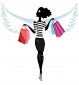 Silhouette of a pretty young woman angel with the purchase. Vector. Illustration