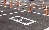 picture of physically handicapped  - Parking space reserved for handicapped shoppers in a retail parking lot - JPG