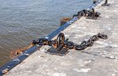 Mooring On A Pier In Peterhof Harbor Near Saint Petersburg, Russia