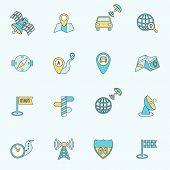 Mobile navigation icons flat line
