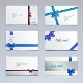 stock photo of ribbon bow  - Gift cards vouchers elegant paper ribbon certificates template set isolated vector illustration - JPG