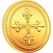 stock photo of crossed pistols  - reverse old French gold coin with the image of a flowering crowns Cross - JPG