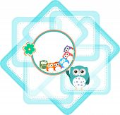 Baby Boy Card With Flowers And Owl Background
