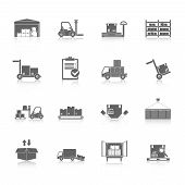 stock photo of forklift  - Warehouse distribution and logistics service icons black set isolated vector illustration - JPG