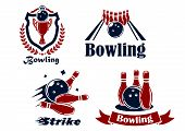 picture of striking  - Bowling emblems or symbols showing bowling balls and ninepins - JPG