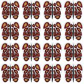 White-Tan-Red Medium Butterfly Pattern