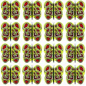 Yellow-Red-White Butterfly Medium Pattern