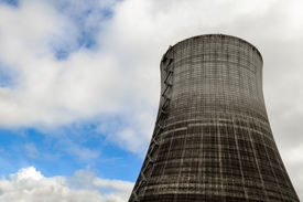 stock photo of reactor  - A Nuclear Power Plant Reactor Cooling Tower - JPG