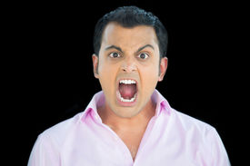foto of pissed off  - Closeup portrait bitter displeased pissed off angry grumpy man in pink shirt open mouth screaming and yelling isolated black background - JPG