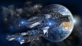 pic of spaceships  - Spaceship fleet leaving Earth as a 3D concept for futuristic interstellar deep space travel for sci - JPG