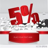Red 5 Percent Discount On Vector Cracked Ground On White Background