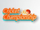 3D text Cricket Championship with red ball in fire on grey background, can be used as poster or banner design.