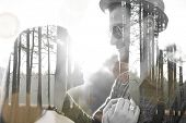 Double exposure of lovely romantic couple in nature for Valentine