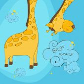 Постер, плакат: Cute cartoon of a giraffe with stylish text of Baby Shower on blue background can be used as greeti