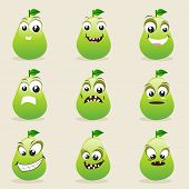 Funny pear character showing different facial expressions on beige background.