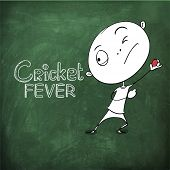 Funny cartoon of a boy ready to throw the Cricket ball on chalk borad background for sports concept.