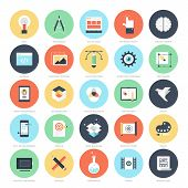 foto of process  - Abstract vector set of colorful flat creative process icons - JPG