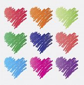 Set of colorful heart icons in pencil scribble drawing - vector illustration