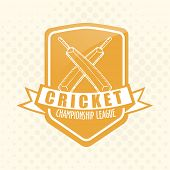 Vintage sticker, tag or label design for Cricket Championship League.