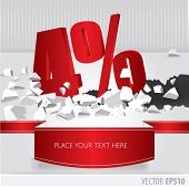 Red 4 percent discount on vector cracked ground on white background