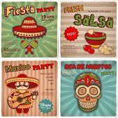 stock photo of mexican fiesta  - Vector Set of retro banners with Mexican symbols - JPG