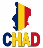 image of chad  - Chad map flag and text illustration - JPG