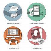 Internet business, website design & coding, mobile app development, consulting - set of hand drawn illustrations