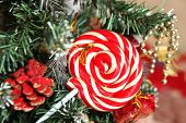 foto of candy cane border  - cute christmas still life with pinetree bells and candy - JPG