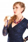 Portrait Of A Beautiful Young Woman With A Glass Of Champagne
