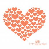 Heart shape from red hearts on white background.