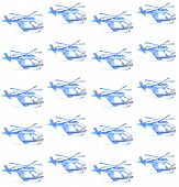 Blue helicopter. watercolor seamless pattern. transport motion.