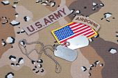 Us Army Airborne Tab With Blank Dog Tags On Camouflage Uniform