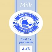 Logo and labels for dairy products. Editable labels for packages. Dairy products. Yogurt, kefir, mil