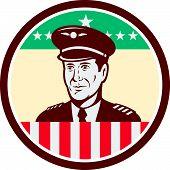 Airline Pilot Aviator Usa Flag Circle Retro
