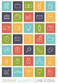 Business Line Icon Vector Set. Collection of 35 basic business line icons in colored rounded squares