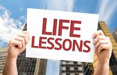 Life Lessons card with a urban background