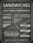 picture of tomato sandwich  - Sandwich poster on blackboard - JPG