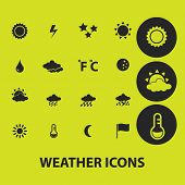 weather, climate icons, signs, illustrations on background set, vector