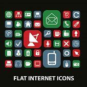 flat internet, website, communication, technology, connection icons, signs, illustrations on background set, vector